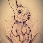 фото Эскизы тату кролик от 09.01.2018 №016 - Sketches of a rabbit tattoo - tatufoto.com