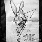 фото Эскизы тату кролик от 09.01.2018 №017 - Sketches of a rabbit tattoo - tatufoto.com