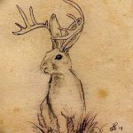 фото Эскизы тату кролик от 09.01.2018 №020 - Sketches of a rabbit tattoo - tatufoto.com