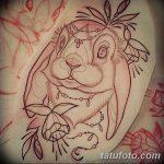 фото Эскизы тату кролик от 09.01.2018 №023 - Sketches of a rabbit tattoo - tatufoto.com