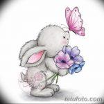 фото Эскизы тату кролик от 09.01.2018 №031 - Sketches of a rabbit tattoo - tatufoto.com