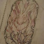 фото Эскизы тату кролик от 09.01.2018 №032 - Sketches of a rabbit tattoo - tatufoto.com