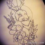 фото Эскизы тату кролик от 09.01.2018 №045 - Sketches of a rabbit tattoo - tatufoto.com