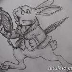 фото Эскизы тату кролик от 09.01.2018 №057 - Sketches of a rabbit tattoo - tatufoto.com