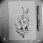 фото Эскизы тату кролик от 09.01.2018 №060 - Sketches of a rabbit tattoo - tatufoto.com