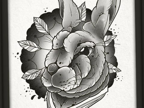фото Эскизы тату кролик от 09.01.2018 №064 - Sketches of a rabbit tattoo - tatufoto.com