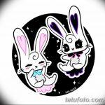 фото Эскизы тату кролик от 09.01.2018 №068 - Sketches of a rabbit tattoo - tatufoto.com