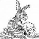 фото Эскизы тату кролик от 09.01.2018 №075 - Sketches of a rabbit tattoo - tatufoto.com
