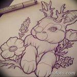 фото Эскизы тату кролик от 09.01.2018 №076 - Sketches of a rabbit tattoo - tatufoto.com