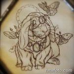 фото Эскизы тату кролик от 09.01.2018 №092 - Sketches of a rabbit tattoo - tatufoto.com