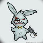 фото Эскизы тату кролик от 09.01.2018 №093 - Sketches of a rabbit tattoo - tatufoto.com