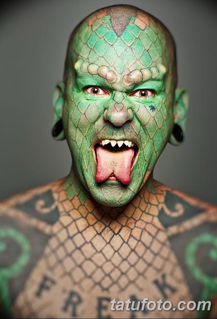фото Змеиный язык у человека от 02.02.2018 №038 - Snake tongue in man - tatufoto.com