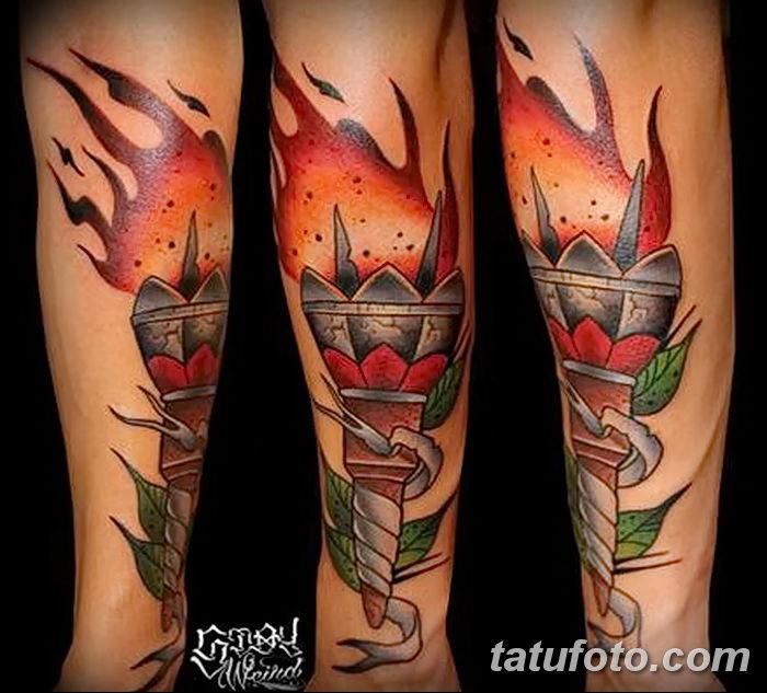 фото рисунок тату факел от 07.02.2018 №009 - torch tattoo - tatufoto.com