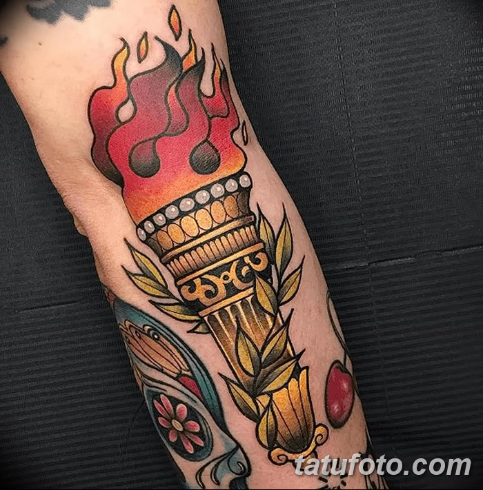 фото рисунок тату факел от 07.02.2018 №073 - torch tattoo - tatufoto.com