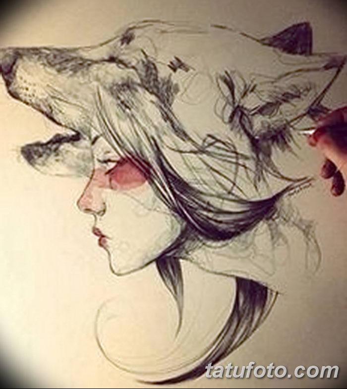 фото тату белый волк от 07.02.2018 №003 - white wolf tattoo - tatufoto.com