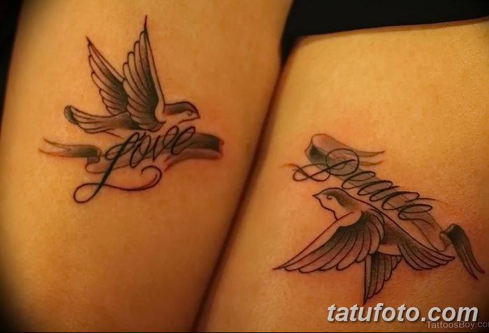 фото тату голубки от 02.02.2018 №035 - tattoo of the dove - tatufoto.com