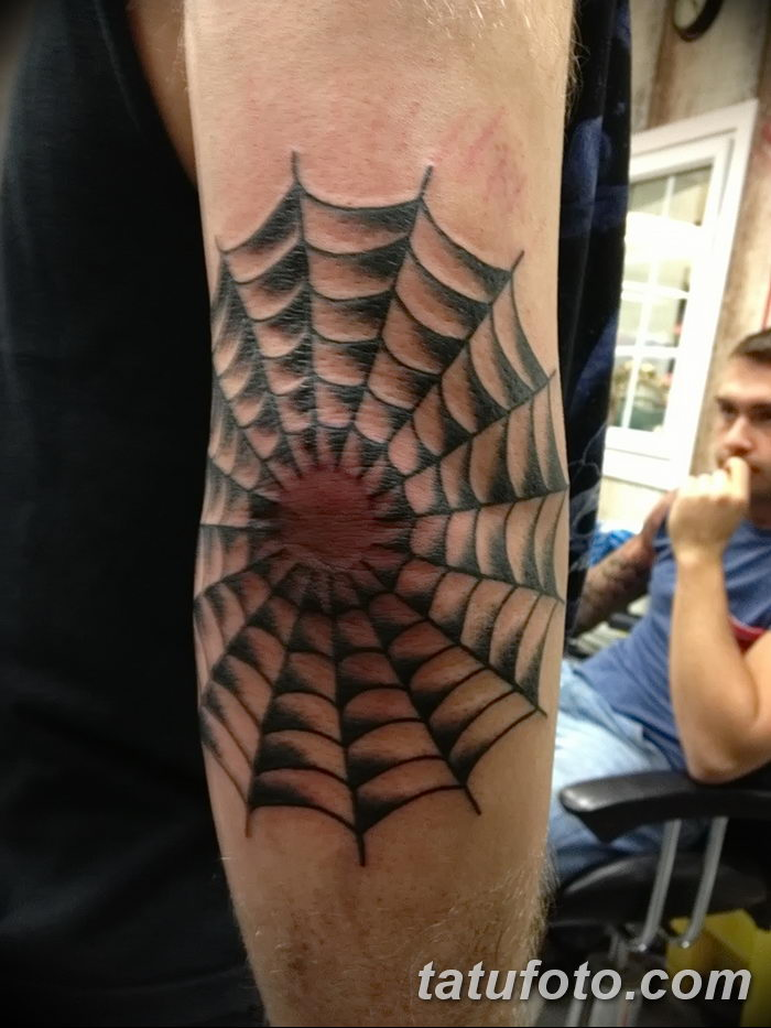 фото тату паутина на локте от 06.02.2018 №096 - tattoo spider web on elbow - tatufoto.com