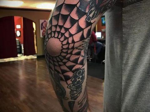 фото тату паутина на локте от 06.02.2018 №099 - tattoo spider web on elbow - tatufoto.com