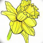 фото Эскизы тату нарцисс от 18.04.2018 №010 - Sketches of daffodil - tatufoto.com