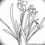 фото Эскизы тату нарцисс от 18.04.2018 №016 - Sketches of daffodil - tatufoto.com
