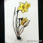 фото Эскизы тату нарцисс от 18.04.2018 №020 - Sketches of daffodil - tatufoto.com