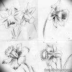фото Эскизы тату нарцисс от 18.04.2018 №028 - Sketches of daffodil - tatufoto.com
