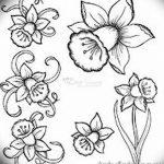 фото Эскизы тату нарцисс от 18.04.2018 №070 - Sketches of daffodil - tatufoto.com