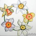 фото Эскизы тату нарцисс от 18.04.2018 №074 - Sketches of daffodil - tatufoto.com