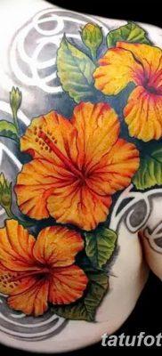 фото тату Гибискус от 20.04.2018 №001 – tattoo Hibiscus – tatufoto.com