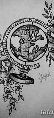 фото тату земной шар от 16.04.2018 №021 – tattoo globe – tatufoto.com