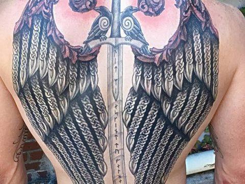 фото тату меч и крылья от 26.04.2018 №035 - tattoo sword and wings - tatufoto.com
