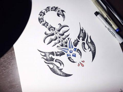 фото эскиз тату скорпион от 24.04.2018 №150 - sketch of a scorpion tattoo - tatufoto.com