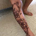 фото Мехенди на икре ноги от 04.05.2018 №036 - Mehendi on calf - tatufoto.com