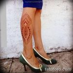 фото Мехенди на икре ноги от 04.05.2018 №045 - Mehendi on calf - tatufoto.com
