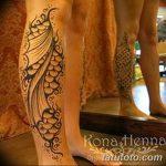 фото Мехенди на икре ноги от 04.05.2018 №046 - Mehendi on calf - tatufoto.com