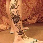 фото Мехенди на икре ноги от 04.05.2018 №047 - Mehendi on calf - tatufoto.com