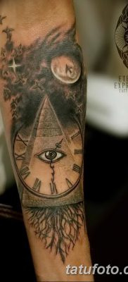 фото тату часы и пирамида от 08.05.2018 №043 – tattoo clock and pyramid – tatufoto.com