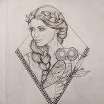 фото эскиз тату Афродита богиня от 01.05.2018 №033 - sketch Aphrodite - tatufoto.com