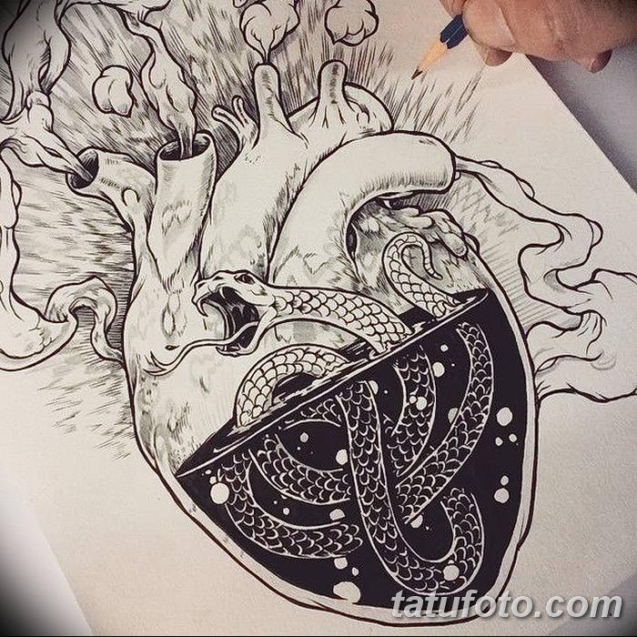 фото Эскизы тату Сердце от 20.06.2018 №007 - Sketches Tattoo Heart - tatufoto.com