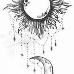 фото Эскизы тату полумесяц от 18.06.2018 №019 - Sketches of a moon tattoo - tatufoto.com