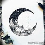 фото Эскизы тату полумесяц от 18.06.2018 №027 - Sketches of a moon tattoo - tatufoto.com