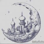 фото Эскизы тату полумесяц от 18.06.2018 №032 - Sketches of a moon tattoo - tatufoto.com