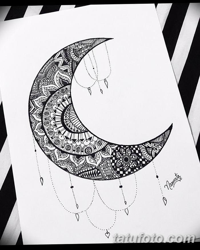 фото Эскизы тату полумесяц от 18.06.2018 №066 - Sketches of a moon tattoo - tatufoto.com