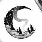 фото Эскизы тату полумесяц от 18.06.2018 №094 - Sketches of a moon tattoo - tatufoto.com