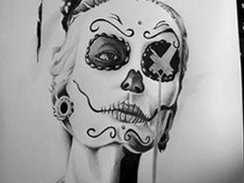 фото Эскиз тату Санта Муэрто от 03.06.2018 №012 - Sketch of Santa Muerto - tatufoto.com