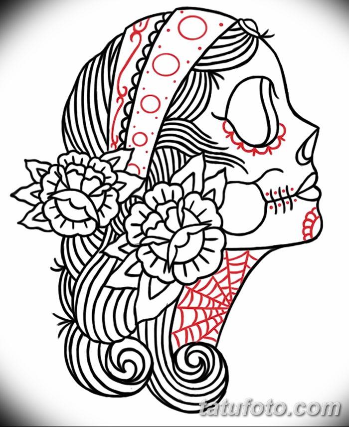 фото Эскиз тату Санта Муэрто от 03.06.2018 №154 - Sketch of Santa Muerto - tatufoto.com