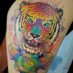 фото татуировка оскал тигра от 01.06.2018 №010 - tiger tattoo - tatufoto.com