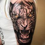 фото татуировка оскал тигра от 01.06.2018 №016 - tiger tattoo - tatufoto.com