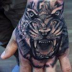 фото татуировка оскал тигра от 01.06.2018 №027 - tiger tattoo - tatufoto.com