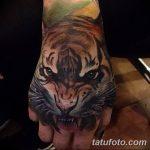 фото татуировка оскал тигра от 01.06.2018 №029 - tiger tattoo - tatufoto.com